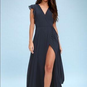 NWT! Lulus navy maxi wrap crescendo dress